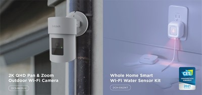 New mydlink smart home solutions at the 2021 Consumer Electronics Show from D-Link include the Whole-Home Smart Wi-Fi Water Sensor Kit (DCH-S1621KT), a CES Innovation Honoree, that intelligently detects and notifies users of potential indoor water leaks; and a 2K QHD Pan & Zoom Outdoor Home Wi-Fi Camera (DCS-8635LH).