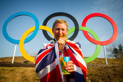 Nick Skelton (GBR) celebrates his gold medal win following a stunning performance at the Deodoro Equestrian Park claiming the Olympic Individual title at the Rio 2016 Games with Big Star. Photo credit: FEI/Eric Knoll