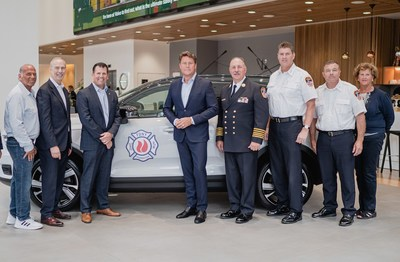 FDNY RECEIVES ALL-ELECTRIC VOLVO FOR 'JAWS OF LIFE' FIRST RESPONDER TRAINING AT MANHATTAN DEALERSHIP. From L to R: Brian Miller (Volvo Manhattan owner), Mark Schienberg (Greater NY Auto Dealers Assoc president), Eric Miller (Regional VP Volvo), Anders Gustafsson (CEO Volvo), Thomas Richardson (FDNY Chief of Dept, Brendan McSweeney (FDNY Chief of Training), Frank Leeb (FDNY Chief of Academy) and Jean O'Shea (FDNY Foundation Executive Director).