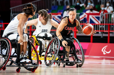 Canada (including Cindy Ouellet, pictured) is taking on USA in the women's wheelchair basketball quarterfinals on Tuesday. PHOTO: Dave Holland/Canadian Paralympic Committee (CNW Group/Canadian Paralympic Committee (Sponsorships))