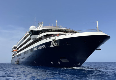 An exterior photo of World Navigator, Atlas Ocean Voyages' first luxe-adventure expedition ship. The 196-guest-capacity ship brings guests on all-inclusive, luxury adventures to remote and captivating destinations around the world.