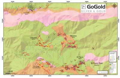 Figure 3: Plan View – La Trini to El Favor Area of Los Ricos North (CNW Group/GoGold Resources Inc.)