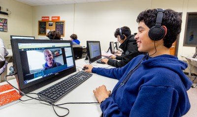 High school students learn from remote Microsoft TEALS program volunteers who work in the tech industry, like Magnum Dampier in Smithville, Texas.