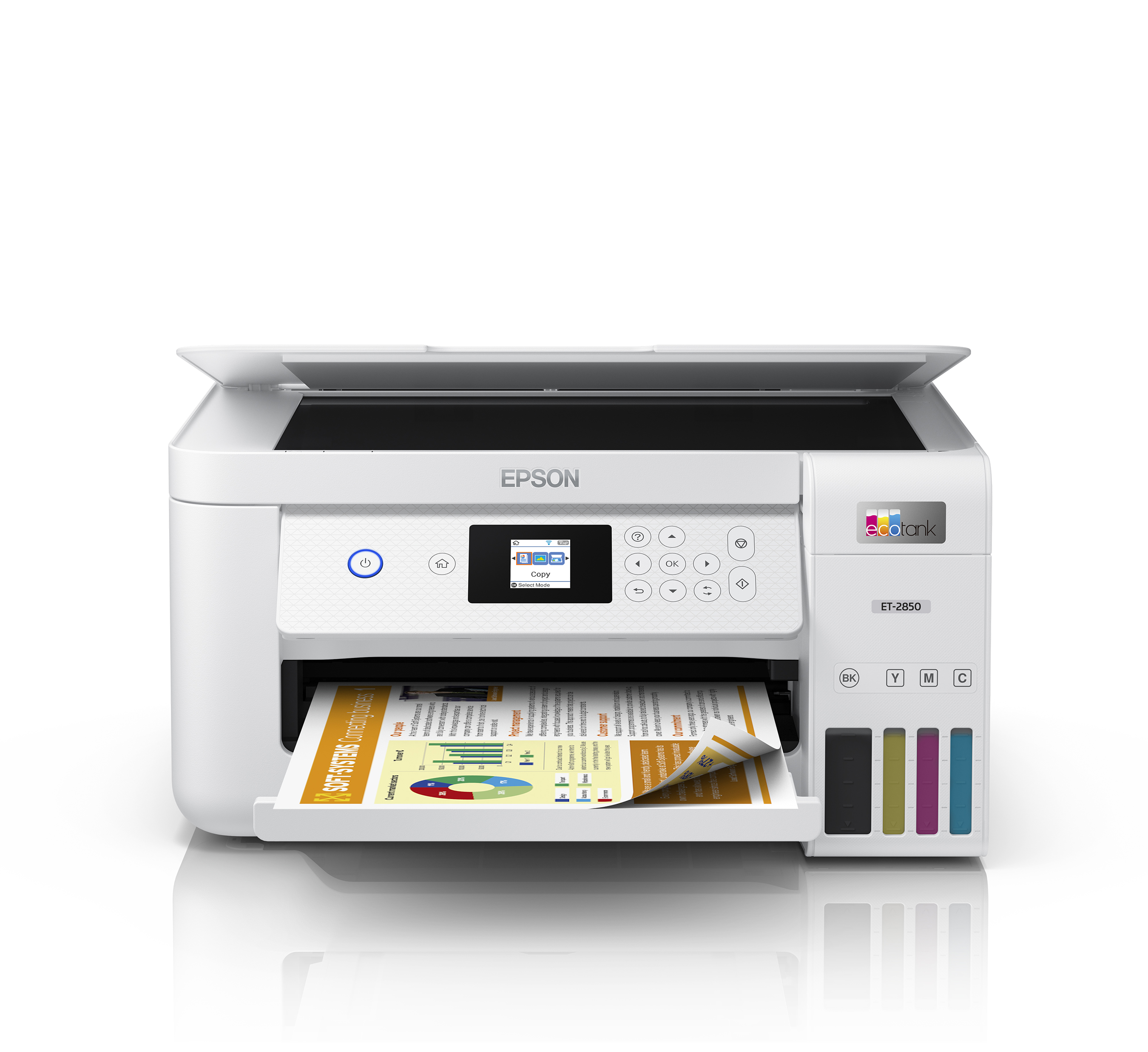 The EcoTank ET-2850 offers 2-sided printing with a built-in scanner and copier, ideal for family home printing.