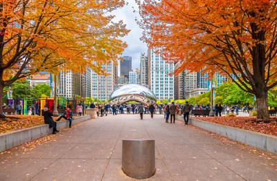 Take a trip to Chicago's Millennium Park to enjoy vibrant fall foliage