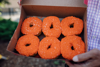 The orange-sprinkled donut will go on sale at participating restaurants starting Sept. 30, which is Orange Shirt Day. Through Oct. 6, 100 per cent of the donut's retail price (excluding taxes) will be donated to the Orange Shirt Society and the Indian Residential School Survivors Society. (CNW Group/Tim Hortons)