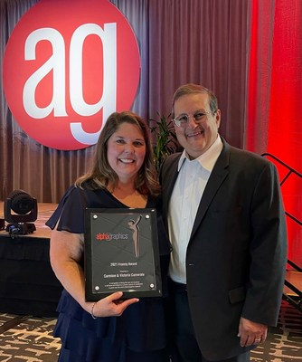 Victoria, left, and Carmine Camerato were the winners of the AlphaGraphics Franny Award, one of the franchise's highest and most coveted honors.