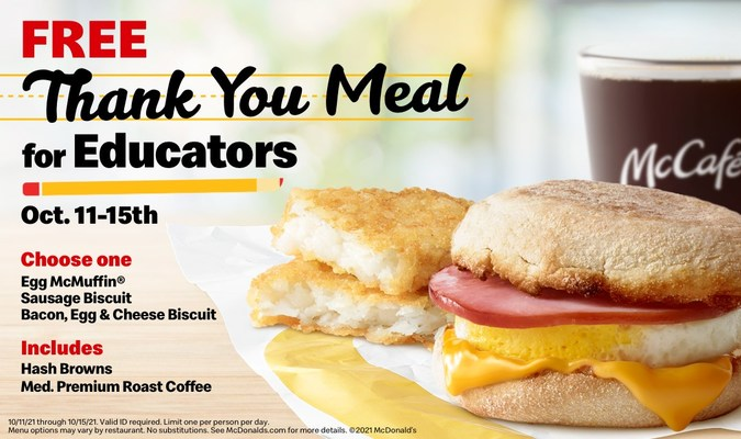 Free Thank You Meal for Educators at McDonald's from Oct. 11-15